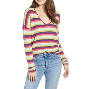 BP Rainbow Stripe Thermal Stitch Pullover Sweater